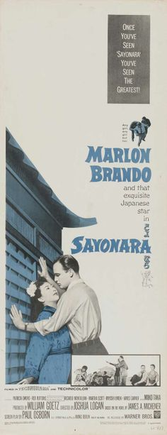 Sayonara (1957) Cinema Posters, Movie Poster Art, Marlon Brando, Advertising Poster, 1950s, Japanese, Collections, Film, Memes
