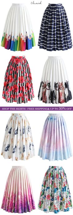 New Printed Skirt Collection. Shop www.chicwish.com and get up to 30% off. Free Shipping & Easy Return
