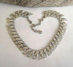 Beautiful Coro Vintage Silver Two Toned Metal Choker Necklace  #Coro #Choker