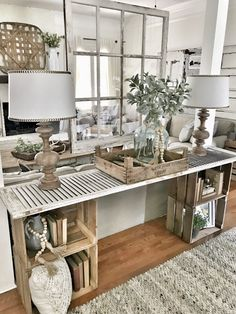 Easy DIY console table Bless this nest entrance area table hanging window decor . Easy DIY console table Bless this nest entrance area table hanging window decoration … – – Decor, Farmhouse Decor Living Room, Living Decor, Interior, Home Decor, Diy Console Table, Home And Living, Farm House Living Room, Home Living Room