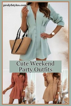 Get a new trendy look for this spring with fashionable shirt dresses for classy party outfit ideas. Give your casual spring style a chic fashion look with a cute long sleeve shirt dress for a trendy fashion outfit. This classy and inspirational fashion outfit idea is a trendy style for women's timeless fashion. classy looks for women high fashion street styles. Chic party outfits are trendy outfits for the weekend look. Casual spring weekend wear, Spring weekend fashion, Cool weekend outfit. Weekend Fashion, Spring Fashion Casual, Weekend Outfit, Weekend Wear, Trendy Fashion, High Fashion, Classy Party Outfit, Smart Casual Outfit, Business Casual Outfits