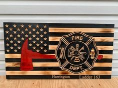 Fireman Badge and axe Thin Red Line Wood American Flag Wildland Firefighter, Firefighter Gifts, Firefighter Jacket, Firefighter Cross, Wooden American Flag, Wooden Flag, Pictures Of Flags, Disney Wall Decor, American Firefighter