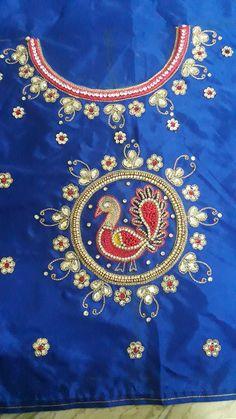 Hand Work Blouse Design, Kids Blouse Designs, Blouse Designs Silk, Bridal Blouse Designs, Bead Embroidery Patterns, Hand Work Embroidery, Pavadai Sattai, Kids Dress Wear, Baby Tops