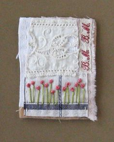 Mini art quilt ATC ACEO Flowers and letters by ColetteCopeland, $12.50
