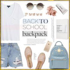 Back to School! by stellaasteria on Polyvore featuring MANGO, Topshop, Valentino, Bebe, Maison Margiela, Stuller, Linda Farrow, Bobbi Brown Cosmetics and Moleskine