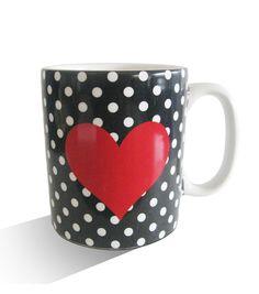 Valentine's Day Black With White Dot Red Heart Mug