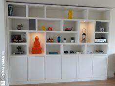 Built In Shelves Living Room, Living Room Storage, Box Shelves, Open Plan Living, Interior Design Living Room, Plank, Interior Inspiration, Kitchen Design, Sweet Home