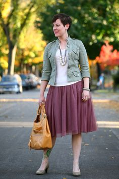 Already Pretty outfit featuring military jacket, pearl and rhinestone necklace, tulle skirt, Tsubo Dufay, Foley + Corinna Jet Set Pretty Outfits, Stylish Outfits, Beautiful Outfits, Cool Outfits, Beautiful Clothes, Estilo Jeans, Quirky Fashion, Skirt Fashion, Feminine Fashion