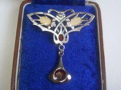 RARE Art Nouveau Jugendstil Silver Enamel Brooch with A Delightful Twisti | eBay