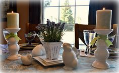 Dining Delight: Lavender Purple & Sage Green Table for Four