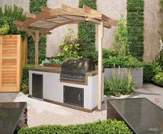 Outdoor Kitchen Ideas - On Do It Yourself Network, we share outdoor cooking area essentials, from appliances to counter tops. Prefab Outdoor Kitchen, Outdoor Kitchen Kits, Outdoor Cooking Area, Outdoor Kitchen Cabinets, Outdoor Kitchen Design, Outdoor Kitchens, Pergola, Kitchen Pictures, Outdoor Living