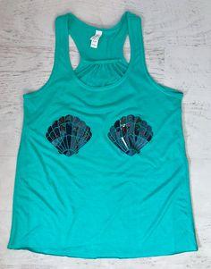 Mermaid Shells Tank Top Holographic Shiny Sparkle print