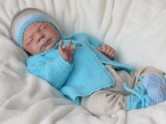 Babygarnitur 3-teilig Gr.50-56 türkis/beige von babys & dreams auf DaWanda.com