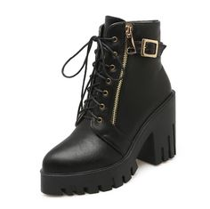 VogueZone009 Women's Closed Pointed Toe Solid Low Top High Heels Boots ** Check this awesome product by going to the link at the image.