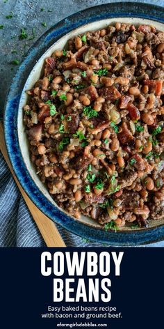 Beans Cowboy Beans from - This easy baked beans recipe is hearty and flavorful with bacon and ground beef. It's the ultimate side dish for all your casual gatherings!Cowboy Beans from - This easy baked beans recipe is hearty and flavorful with bacon and Simple Baked Beans Recipe, Best Baked Beans, Side Dish Recipes, Dinner Recipes, Side Dishes, Lunch Recipes, Main Dishes, Bacon Recipes, Healthy Recipes