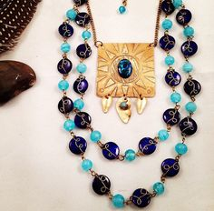 Vintage Inspired Sky Blue Etched Brass Sun Beaded by JupiterOak
