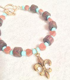 Foxie Gal-Goldstone Gem & Wood-Heart & Fleur De Lis Bracelet
