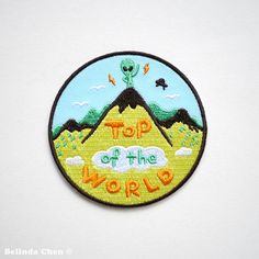 Alien on Top of the world Patch is 8 x 8 cm It is super cool, colorful and perfect for someone who is crazy about Alien, hiking and view on top of the mountain!  When dispatched, the patch will be secured with cardboard.  Thanks for viewing! Back to my shop: http://www.etsy.com/shop/bel777