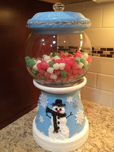 snowman Christmas Candy Jar Bank Cookie by UniqueDesignsGallery