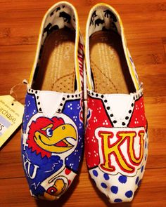KU Jayhawks custom shoes! Affordable prices. Shipping available!   Order a pair of shoes with your specifications Bella Lace Boutique!   www.facebook.com/bellalaceboutique.  Or www.etsy.com/shop/bellalaceboutique
