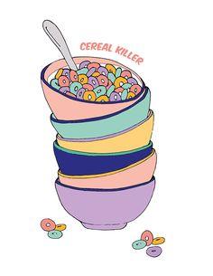 Cereal killer printable wall art – Make and Tell Art And Illustration, Food Illustrations, Art Plastic, Wall Prints, Poster Prints, Posters, Cereal Killer, Hippie Wallpaper, No Bad Days