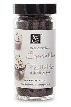 Dark Chocolate Sprinkles: Made with decadent cocoa liquor. Top cupcakes, cakes, lattes, hot chocolate, cookies, and chocolate desserts for double the pleasure. http://michellestevenson.myepicure.com/