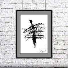 grafika 49 - 50x40cm / Maja Gajewska / Dekoracja Wnętrz / Rysunki i Grafiki biało czarny, czarno białe, czarny, grafika, rysunek, wnętrze, kobieta, człowiek, wystrój