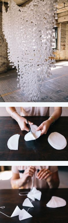 DIY wax paper garland wedding garland ~  we ❤ this! moncheribridals.com #hangingweddingdecor