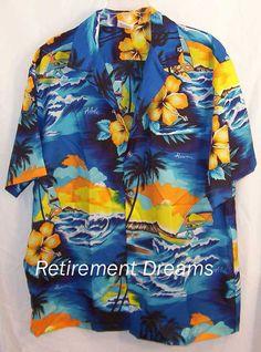 d8094cad528 KALENA FASHIONS of Hawaii Mens HAWAIIAN Shirt XL Blue Wind Surf Blue  Surfing  KalenaFashionsofHawaii