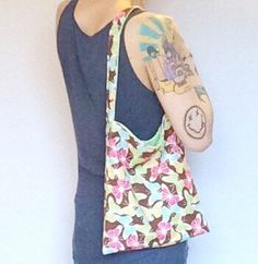 Butterflies and Polka Dots Reversible Flannel Tote in by luvbuzz