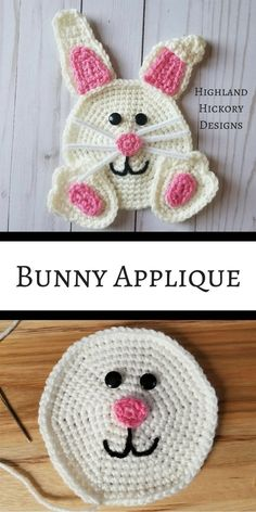 The Bunny Applique is an adorable free crochet pattern that's perfect for baskets, bags, clothing, b Crochet Applique Patterns Free, Easter Crochet Patterns, Crochet Motif, Crochet Designs, Crochet Flowers, Crochet Stitches, Crochet Appliques, Free Pattern, Quilt Patterns