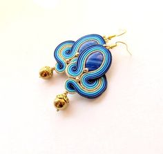Blue Gold Dangle EarringsGold Soutache by StudioGianna on Etsy