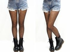 """Dots Printed Tights - Black  One Size hip: 33.5-43.3"""" (85-110cm)  height: 4'92""""-5'74"""" (150cm~175cm)  (with no paper package)"""