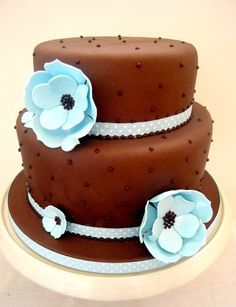 Chocolate and Blue Two Tier Cake by purecakes (lizzie), via Flickr
