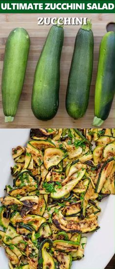 This Ultimate Zucchini Salad is so flavorful and healthy, yo.- This Ultimate Zucchini Salad is so flavorful and healthy, you'll want to make it all summer long! Seasoned with lemon-parsley dressing, it requires only 5 ingredients! Salad Recipes Video, Vegetable Recipes, Diet Recipes, Vegetarian Recipes, Cooking Recipes, Healthy Recipes, Cooking Games, Courgette Recipe Healthy, Grilling Recipes