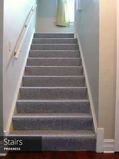 A light and bright entryway and stairs with toddler-friendly carpet | Rather Square