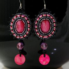 Pink Scarab Earrings  Pink and Black Statement by LuxVivensFashion, $48.00