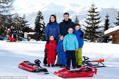 Members of the Danish royal family are also in Verbier, among them Crown Prince Frederik and his family, wife Princess Mary, and children Prince Christian, Princess Isabella, and twins Prince Vincent and Princess Josephine.