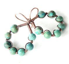 Turquoise hoop earrings  gemstone beads copper wire by dalystudios, $20.00