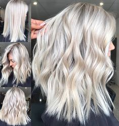 Beauty blonde hair, platinum blonde hair color и balayage hair. Platinum Blonde Hair Color, Blonde Hair Looks, Ash Blonde Hair, Blonde Color, Platnium Blonde Hair, White Blonde Highlights, Platinum Blonde Hairstyles, Medium Length Hair Blonde, Color Highlights