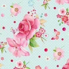 Paper - Fond - Printable - Background - Blue - Pink - Roses