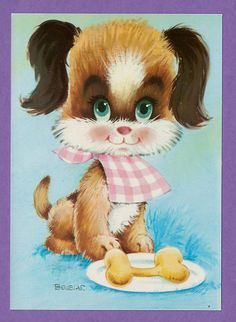 Vintage retro big eyed post card 70s. Cute