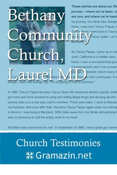 Bethany Community Church of Laurel MD has published testimonies.
