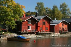 Old town of Porvoo with its shore houses in Southern Finland