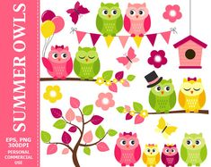 BUY 1 GET 1 FREE  Summer Owls Clip Art  Owl by TheCreativeMill