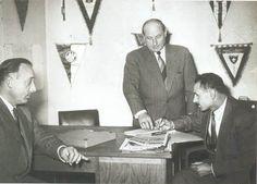 Au centre le premier président de l'OL, Armand Groslevin et à gauche son premier entraineur Oscar Heisserer