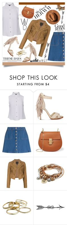 """Wild West Style"" by martinabb ❤ liked on Polyvore featuring MINKPINK, Nine West, HUGO, Chloé, Paige Denim, Lizzy James, Kendra Scott and wildwest"
