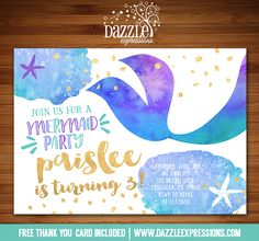 Printable Watercolor and Gold Foil Mermaid Birthday Invitation | Under the Sea | Mermaid Tail | Mer Party | Ocean Party | Star Fish | FREE thank you card included | DIY | Digital File | Matching Printable Party Package Decorations Available!  Banner | Cupcake Toppers | Favor Tag | Food and Drink Labels | Signs |  Candy Bar Wrapper | www.dazzleexpressions.com