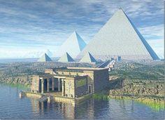 Una reconstrucción artística de cómo vio Herodoto por primera vez las pirámides de Egipto.