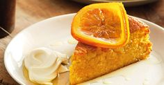 This moist orange cake drenched in sweet orange syrup is a delicious autumn dessert.